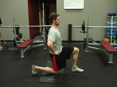 Sports training correct hip flexor stretch