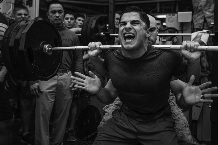 MPOTY 2014 Weight lifting competition aboard the USS Bataan